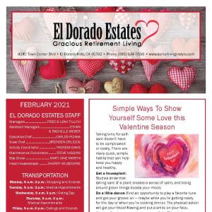 February newsletter at El Dorado Estates Gracious Retirement Living in El Dorado Hills, California