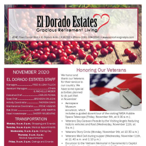 November newsletter at El Dorado Estates Gracious Retirement Living in El Dorado Hills, California