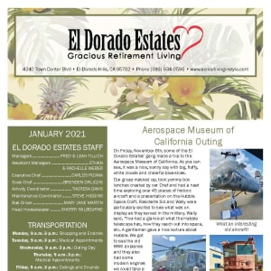 January newsletter at El Dorado Estates Gracious Retirement Living in El Dorado Hills, California