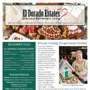 December El Dorado Estates Gracious Retirement Living Newsletter