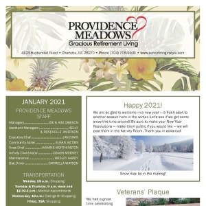 January newsletter at Providence Meadows Gracious Retirement Living in Charlotte, North Carolina