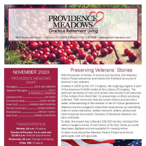 November newsletter at Providence Meadows Gracious Retirement Living in Charlotte, North Carolina