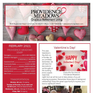 February newsletter at Providence Meadows Gracious Retirement Living in Charlotte, North Carolina