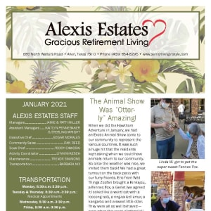 January newsletter at Alexis Estates Gracious Retirement Living in Allen, Texas