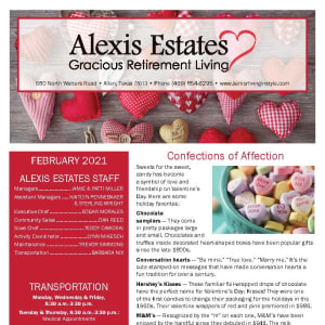 February newsletter at Alexis Estates Gracious Retirement Living in Allen, Texas
