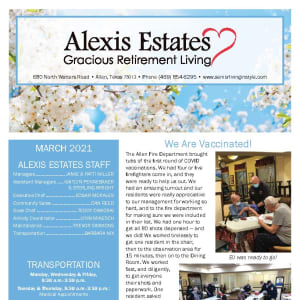 March newsletter at Alexis Estates Gracious Retirement Living in Allen, Texas
