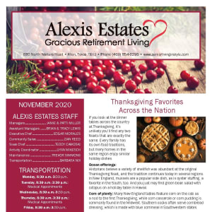 November newsletter at Alexis Estates Gracious Retirement Living in Allen, Texas