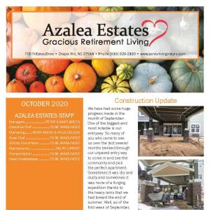 October newsletter at Azalea Estates Gracious Retirement Living in Chapel Hill, North Carolina