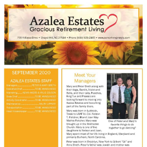 September newsletter at Azalea Estates Gracious Retirement Living in Chapel Hill, North Carolina