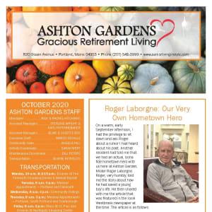 October newsletter at Ashton Gardens Gracious Retirement Living in Portland, Maine
