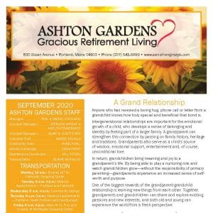 September newsletter at Ashton Gardens Gracious Retirement Living in Portland, Maine