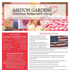 July Ashton Gardens Gracious Retirement Living Newsletter