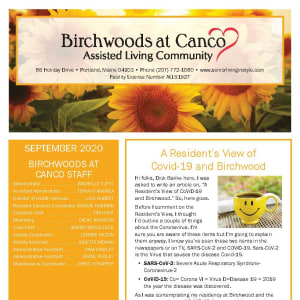 September newsletter at Birchwoods at Canco Assisted Living in Portland, Maine