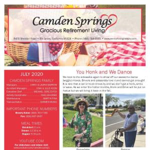 July Camden Springs Gracious Retirement Living Newsletter