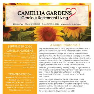 September newsletter at Camellia Gardens Gracious Retirement Living in Maynard, Massachusetts