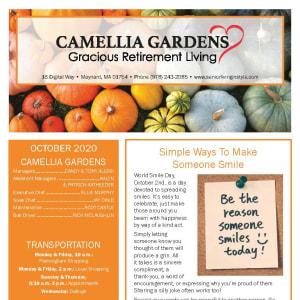 October newsletter at Camellia Gardens Gracious Retirement Living in Maynard, Massachusetts