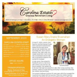 September newsletter at Carolina Estates in Greensboro, North Carolina