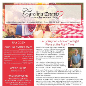 July Carolina Estates Newsletter