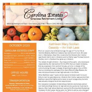 October newsletter at Carolina Estates in Greensboro, North Carolina