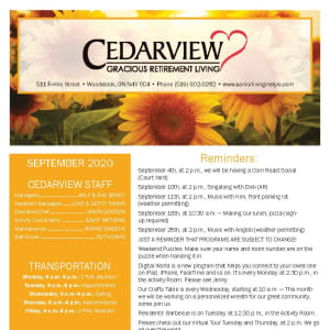 September newsletter at Cedarview Gracious Retirement Living in Woodstock, Ontario