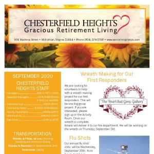 September newsletter at Chesterfield Heights in Midlothian, Virginia