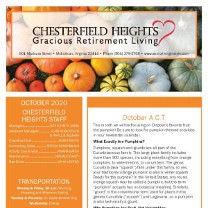 October newsletter at Chesterfield Heights in Midlothian, Virginia