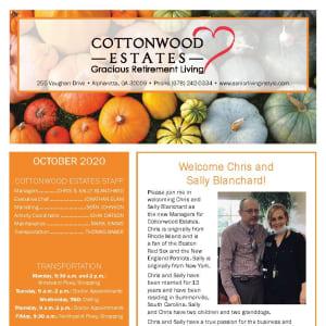 October newsletter at Cottonwood Estates Gracious Retirement Living in Alpharetta, Georgia