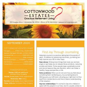 September newsletter at Cottonwood Estates Gracious Retirement Living in Alpharetta, Georgia