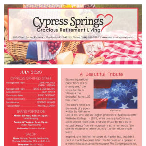 July Cypress Springs Gracious Retirement Living Newsletter