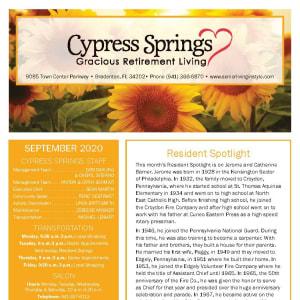 September newsletter at Cypress Springs Gracious Retirement Living in Bradenton, Florida
