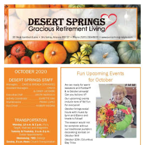 October newsletter at Desert Springs Gracious Retirement Living in Oro Valley, Arizona
