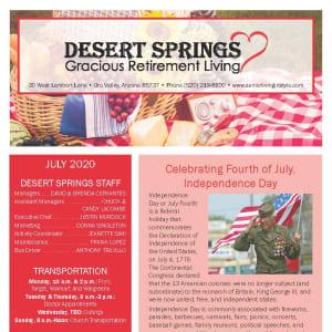 July Desert Springs Gracious Retirement Living Newsletter