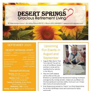September newsletter at Desert Springs Gracious Retirement Living in Oro Valley, Arizona
