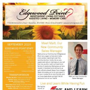 September newsletter at Edgewood Point Assisted Living in Beaverton, Oregon