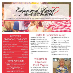 July Edgewood Point Assisted Living Newsletter