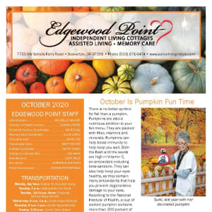 October newsletter at Edgewood Point Assisted Living in Beaverton, Oregon