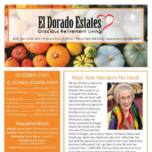 October newsletter at El Dorado Estates Gracious Retirement Living in El Dorado Hills, California