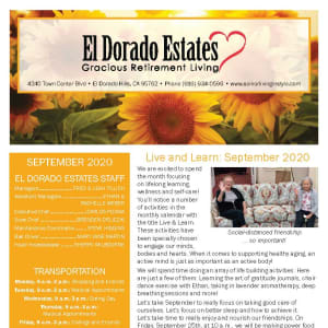 September newsletter at El Dorado Estates Gracious Retirement Living in El Dorado Hills, California
