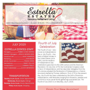 July Estrella Estates Gracious Retirement Living Newsletter