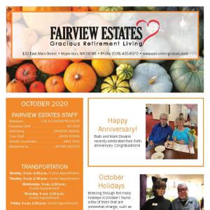 October newsletter at Fairview Estates Gracious Retirement Living in Hopkinton, Massachusetts