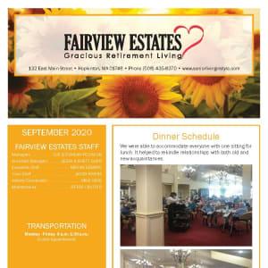 September newsletter at Fairview Estates Gracious Retirement Living in Hopkinton, Massachusetts