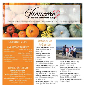 October newsletter at Glenmoore Gracious Retirement Living in Happy Valley, Oregon