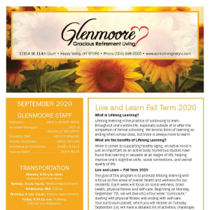 September newsletter at Glenmoore Gracious Retirement Living in Happy Valley, Oregon