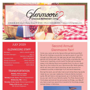 July Glenmoore Gracious Retirement Living Newsletter