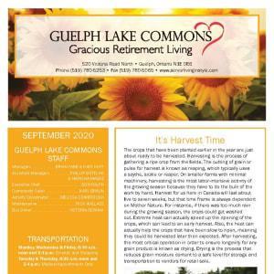 September newsletter at Guelph Lake Commons in Guelph, Ontario