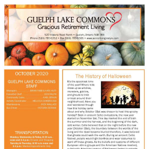 October newsletter at Guelph Lake Commons in Guelph, Ontario