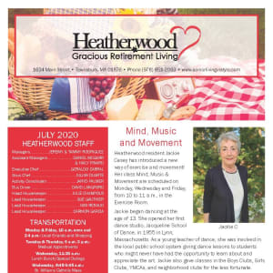 July Heatherwood Gracious Retirement Living newsletter