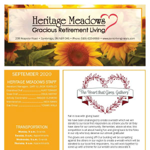 September newsletter at Heritage Meadows Gracious Retirement Living in Cambridge, Ontario
