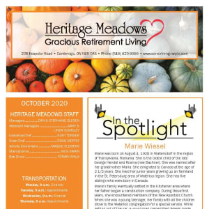 October newsletter at Heritage Meadows Gracious Retirement Living in Cambridge, Ontario