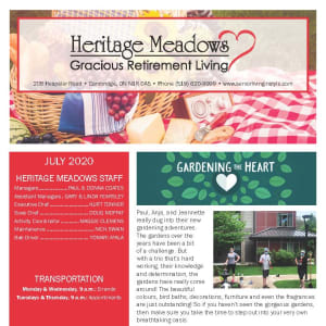 July Heritage Meadows Gracious Retirement Living Newsletter